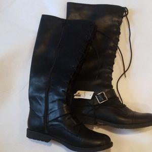 Sz 10 Black Faux Leather Lace Zipper Knee High